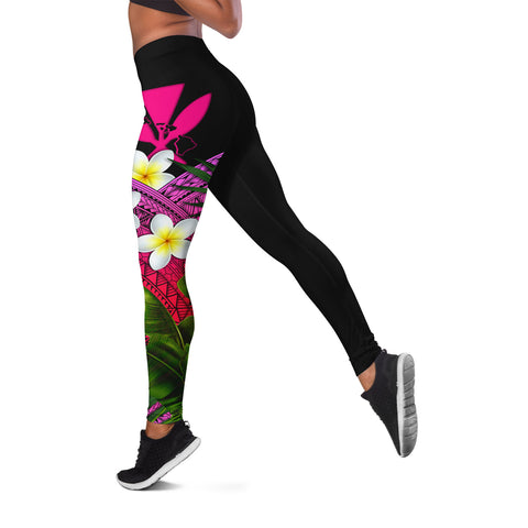 Image of (Custom) Kanaka Maoli (Hawaiian) Leggings, Polynesian Plumeria Banana Leaves Pink Personal Signature A02