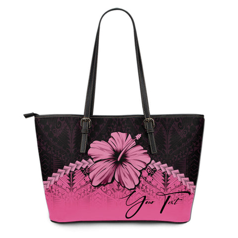(Custom) Polynesian Leather Tote Bag Hibiscus Personal Signature Pink A02