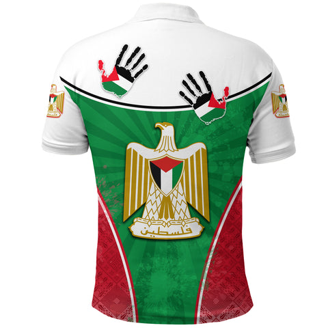 Palestine Independence Polo Shirt Circle Stripes Flag Proud Version Back | 1sttheworld