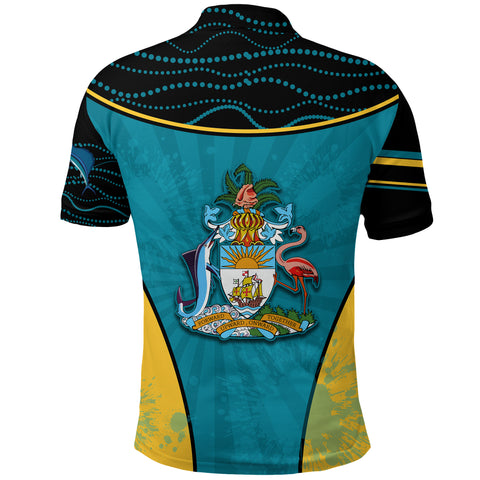 Bahamas Polo Shirt Circle Stripes Flag Version Pearl Back | 1sttheworld