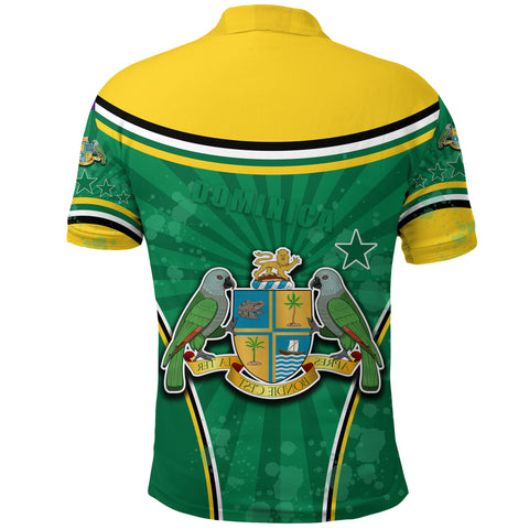 Dominica Polo Shirt Circle Stripes Flag Version Back | 1sttheworld.com