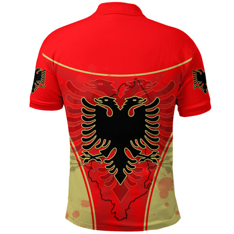 Albania Polo Shirt Circle Stripes Flag Version Back | 1sttheworld