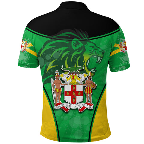Image of Jamaica Lion Polo Shirt Circle Stripes Flag Version Back | 1sttheworld