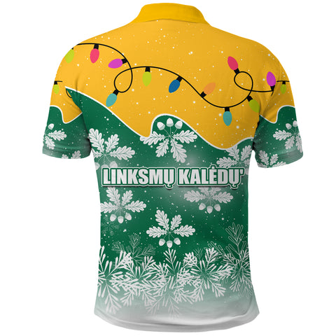 Lithuania Christmas Polo Shirt Oak Leaves - Lietuva Back | 1sttheworld