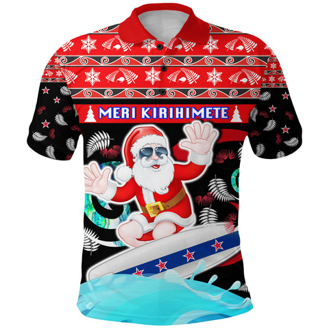 New Zealand Santa Christmas Polo Shirt Pohutukawa Fern And Kiwi Front | 1sttheworld