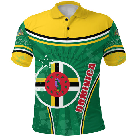 Dominica Polo Shirt Circle Stripes Flag Version Front | 1sttheworld.com