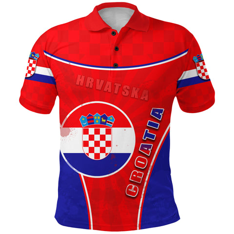 Image of Croatia Polo Shirt Circle Stripes Flag Version Hrvatska Front | 1sttheworld