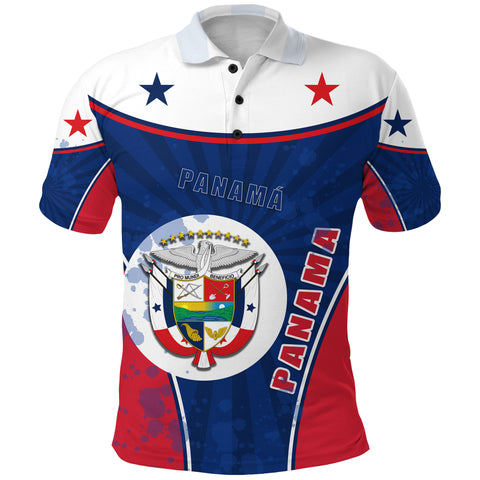 Panama Polo Shirt Circle Stripes Flag Version Front | 1sttheworld.com
