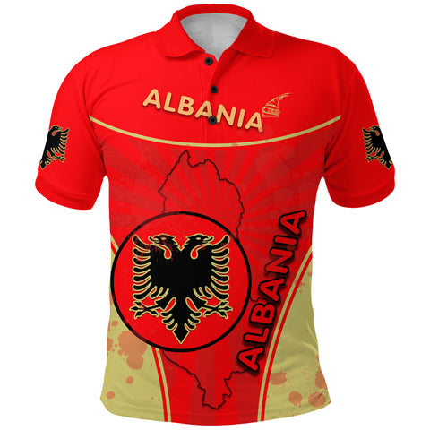 Albania Polo Shirt Circle Stripes Flag Version Front | 1sttheworld