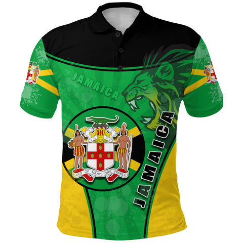 Jamaica Lion Polo Shirt Circle Stripes Flag Version Front | 1sttheworld