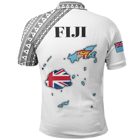 Fiji Map Polo White | Men & Women | High Quality