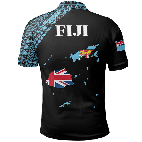 Image of Fiji Map Polo Black Style | Men & Women | High Quality