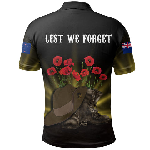 New Zealand Anzac Day Polo Shirt -  Lest We Forget Hat And Boots Poppies A24
