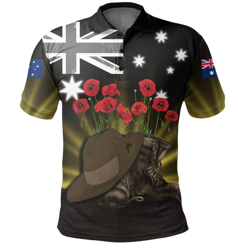 Australia Anzac Day Polo Shirt - Lest We Forget Hat And Boots Poppies | Love The World
