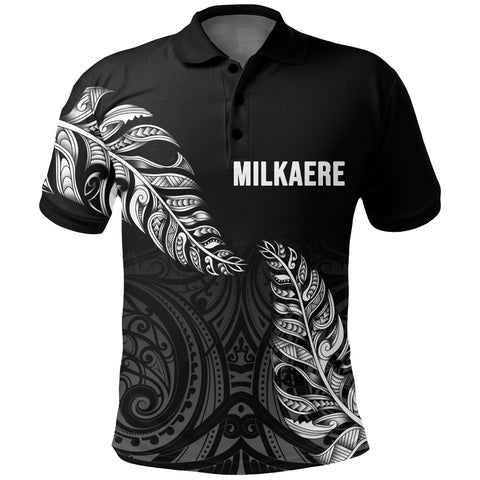 1stTheWorld Custom Aotearoa New Zealand - Maori Silver Fern Polo Shirt Black A10
