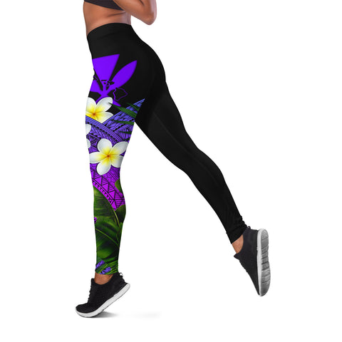 Image of (Custom) Kanaka Maoli (Hawaiian) Leggings, Polynesian Plumeria Banana Leaves Purple Personal Signature A02