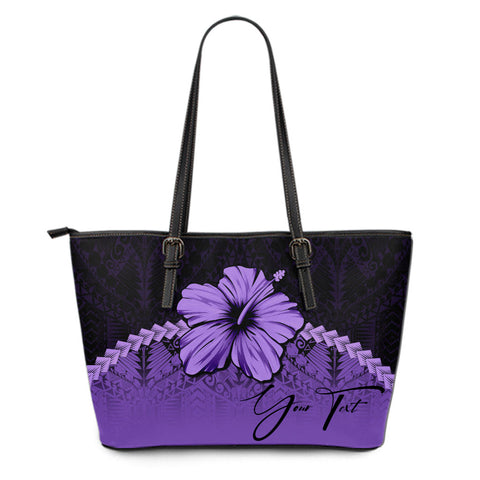 (Custom) Polynesian Leather Tote Bag Hibiscus Personal Signature Purple A02