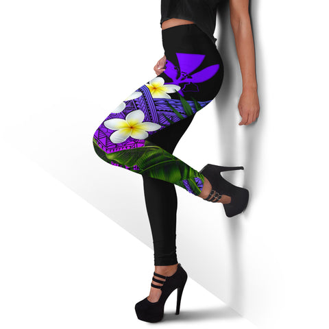 (Custom) Kanaka Maoli (Hawaiian) Leggings, Polynesian Plumeria Banana Leaves Purple Personal Signature A02