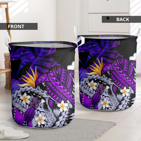 Image of Kanaka Maoli (Hawaiian) Laundry Basket, Polynesian Pineapple Banana Leaves Turtle Tattoo Purple I Love The World
