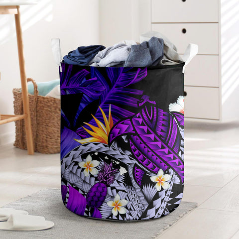 Kanaka Maoli (Hawaiian) Laundry Basket, Polynesian Pineapple Banana Leaves Turtle Tattoo Purple I Love The World