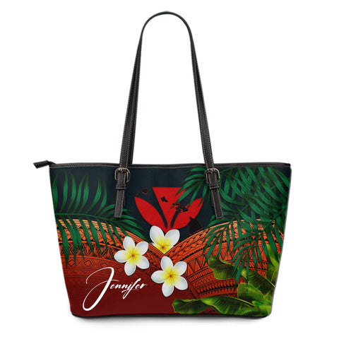 (Custom) Kanaka Maoli (Hawaiian) Leather Tote Bag, Polynesian Plumeria Banana Leaves Red Personal Signature A02