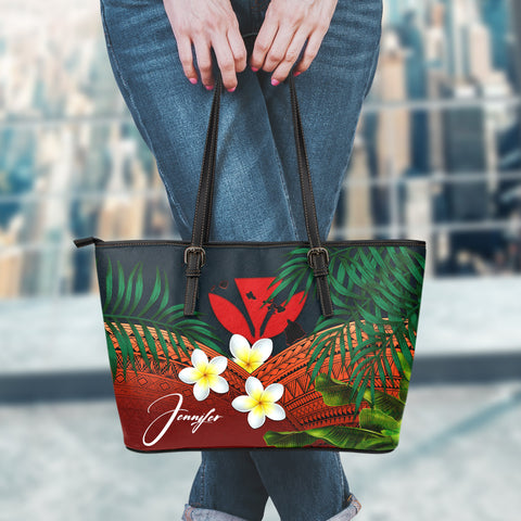 Image of (Custom) Kanaka Maoli (Hawaiian) Leather Tote Bag, Polynesian Plumeria Banana Leaves Red Personal Signature A02