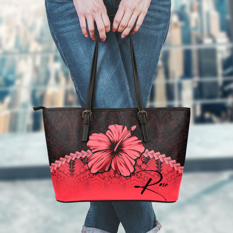 (Custom) Polynesian Leather Tote Bag Hibiscus Personal Signature Red A02