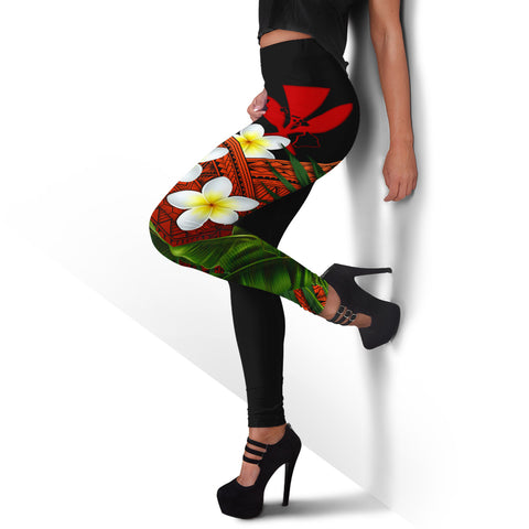 (Custom) Kanaka Maoli (Hawaiian) Leggings, Polynesian Plumeria Banana Leaves Red Personal Signature A02