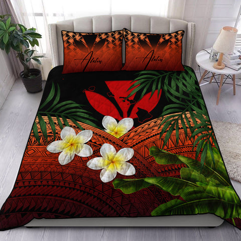 Image of (Custom) Kanaka Maoli (Hawaiian) Quilt Bed Set, Polynesian Plumeria Banana Leaves Red Personal Signature A02