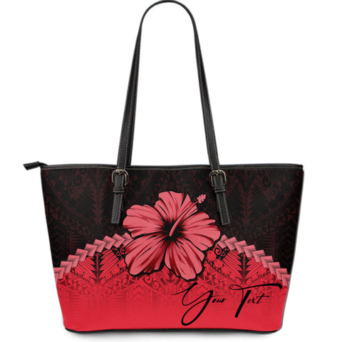 Image of (Custom) Polynesian Leather Tote Bag Hibiscus Personal Signature Red A02