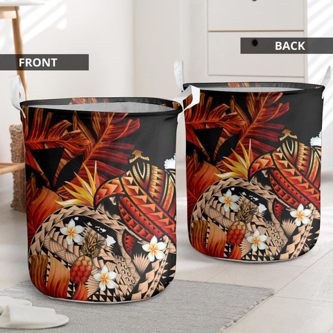 Image of  Kanaka Maoli (Hawaiian) Laundry Basket, Polynesian Pineapple Banana Leaves Turtle Tattoo Red I Love The World