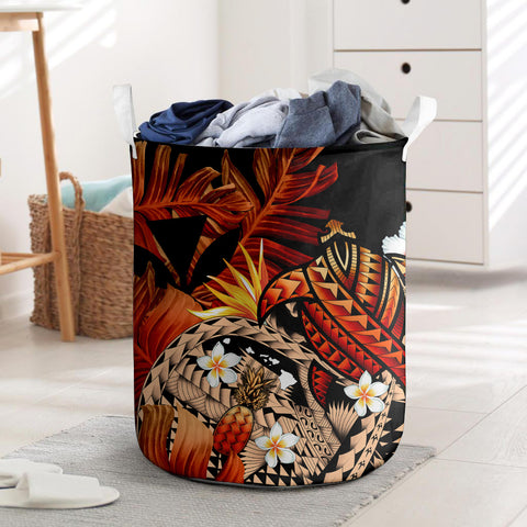 Kanaka Maoli (Hawaiian) Laundry Basket, Polynesian Pineapple Banana Leaves Turtle Tattoo Red I Love The World