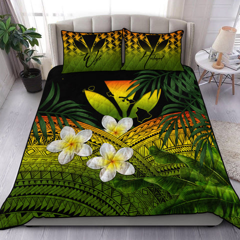 Image of (Custom) Kanaka Maoli (Hawaiian) Quilt Bed Set, Polynesian Plumeria Banana Leaves Reggae Personal Signature A02