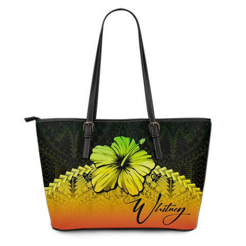 Image of (Custom) Polynesian Leather Tote Bag Hibiscus Personal Signature Reggae A02