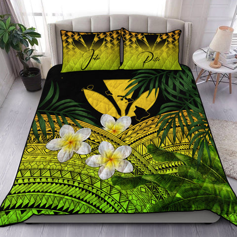 (Custom) Kanaka Maoli (Hawaiian) Quilt Bed Set, Polynesian Plumeria Banana Leaves Yellow Personal Signature A02