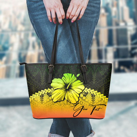(Custom) Polynesian Leather Tote Bag Hibiscus Personal Signature Reggae A02