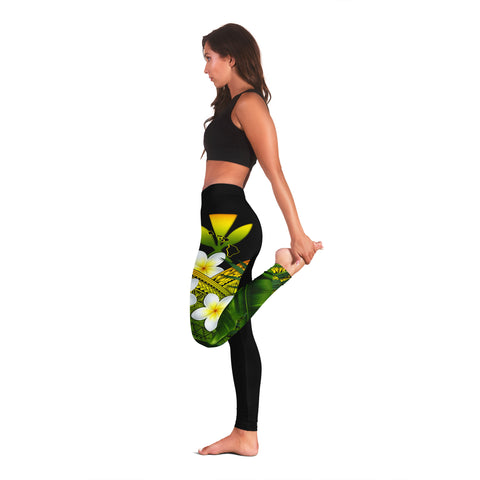 (Custom) Kanaka Maoli (Hawaiian) Leggings, Polynesian Plumeria Banana Leaves Reggae Personal Signature A02