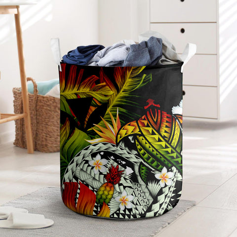 Image of  Kanaka Maoli (Hawaiian) Laundry Basket, Polynesian Pineapple Banana Leaves Turtle Tattoo Reggae I Love The World