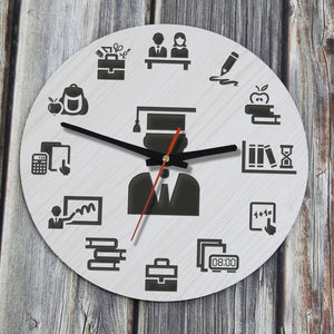 Elegant Education And School Icons Wooden Wall Clock J8