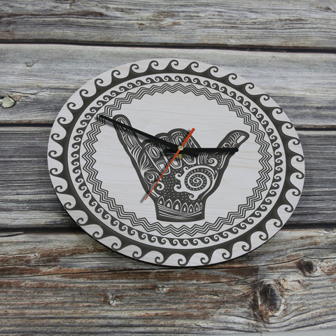 Image of shaka wall clock, hawaii wall clock, shaka clock, hawaiian wall clock, polynesian wall clock