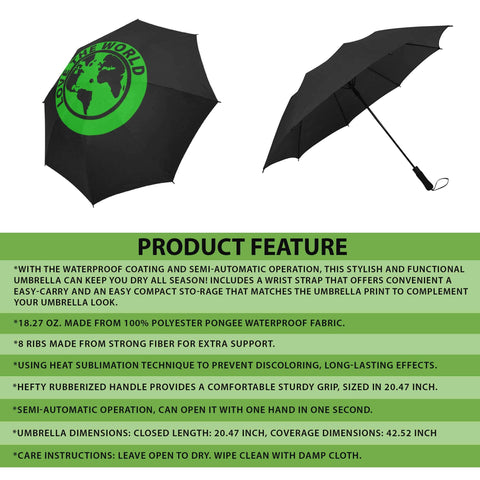 New Zealand Fern Semi-Automatic Foldable Umbrella A9