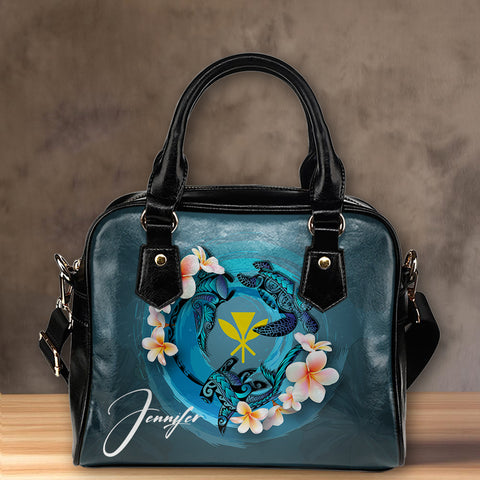 Kanaka Maoli (Hawaiian) Shoulder Handbag - Blue Plumeria Animal Tattoo | Love The World