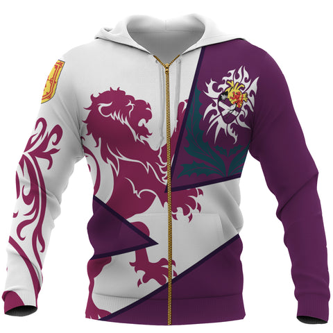 Image of Scotland Zip Up Hoodie - Scottish Royal Lion 1990s - Purple - Front - For Men and Women