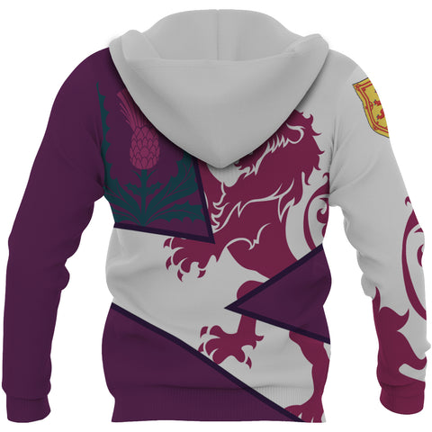 Image of Scotland Zip Up Hoodie - Scottish Royal Lion 1990s - Purple - Back - For Men and Women