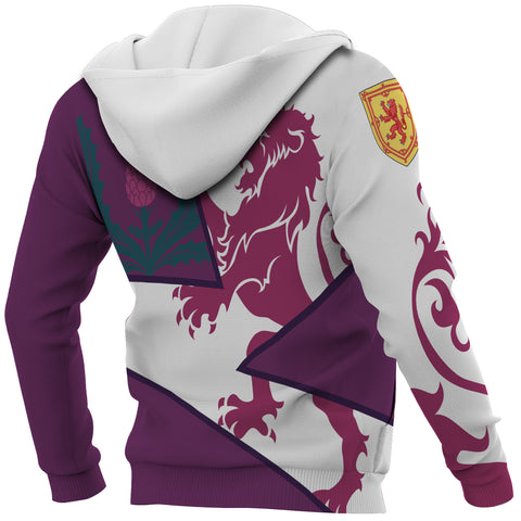Image of Scotland Zip Up Hoodie - Scottish Royal Lion 1990s - Purple - Back and Sleeves - For Men and Women