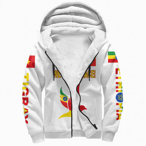"Tigray and Ethiopia Flag ""We Want Peace!"" Sherpa Hoodie A27"