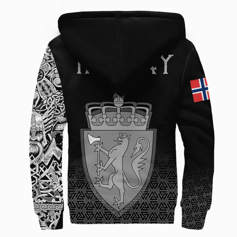 Viking Style Sherpa Hoodie - Norway Coat Of Arms A31