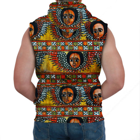 Ethiopia Sleeveless Hoodie Debre Birhan Selassie Church Pattern