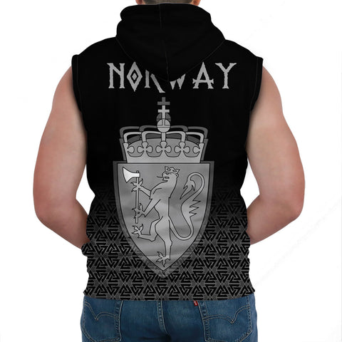 Viking Style Sleeveless Hoodie - Norway Coat Of Arms A31