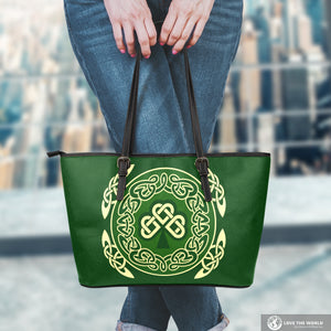 Ireland Leather Tote Bag Shamrock and Celtic Corner